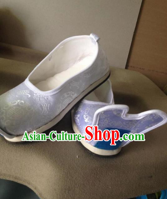 Chinese Traditional Shoes Beijing Opera Shoes Ancient Wedding White Hanfu Shoes for Men