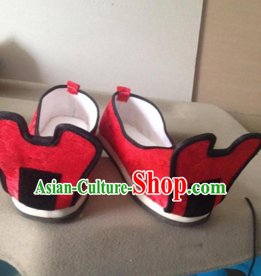 Chinese Traditional Shoes Beijing Opera Shoes Ancient Wedding Red Hanfu Shoes for Men