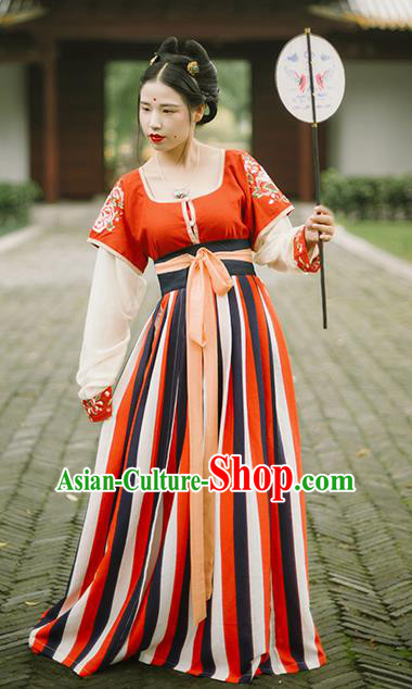 Chinese Traditional Tang Dynasty Palace Historical Costumes Ancient Princess Court Maid Hanfu Dress for Women