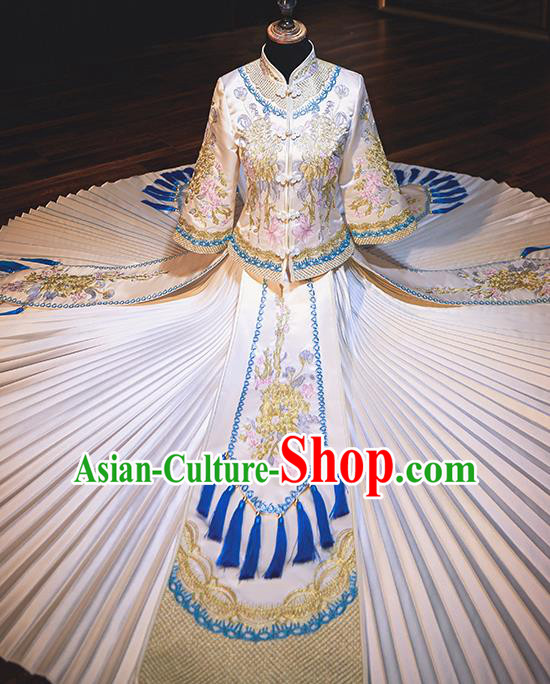 Chinese Traditional Wedding Costumes Bride Toast Blue Tassel Xiuhe Suits Ancient Embroidered Full Dress for Women