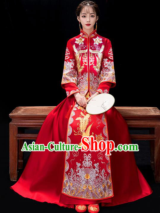 Chinese Traditional Bride Embroidered Phoenix Red Xiuhe Suits Ancient Wedding Costumes for Women