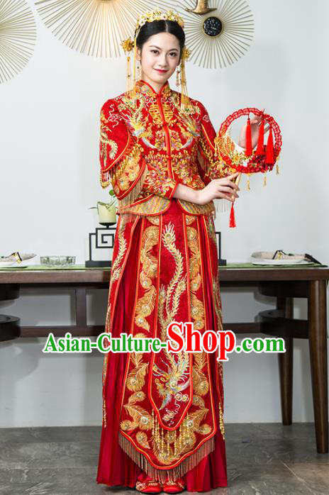 Chinese Traditional Bride Xiuhe Suits Ancient Handmade Red Embroidered Wedding Dresses for Women
