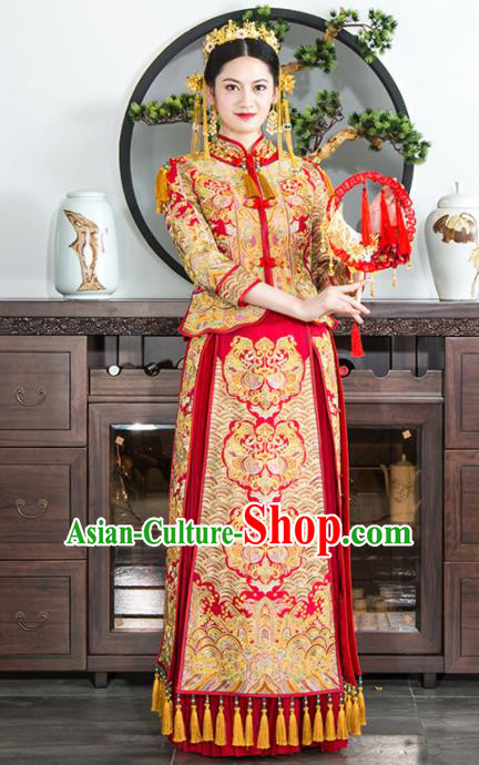 Chinese Traditional Bride Xiuhe Suits Ancient Handmade Red Embroidered Peony Wedding Dresses for Women