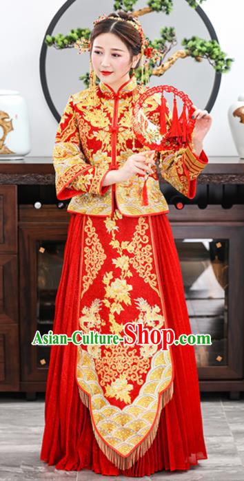 Chinese Traditional Bride Embroidered Dragons Peony Xiuhe Suits Ancient Handmade Red Wedding Dresses for Women