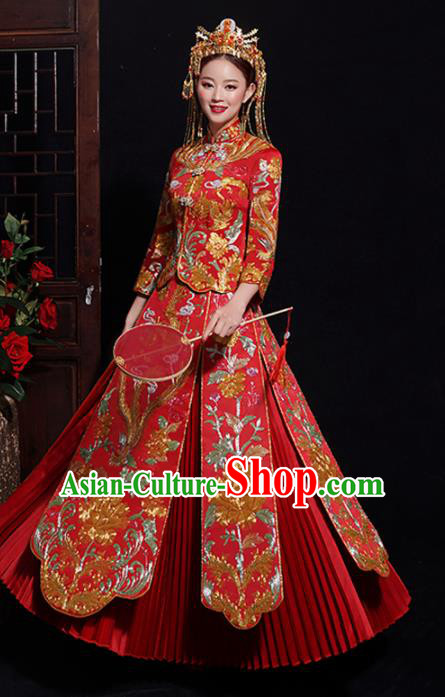 Chinese Traditional Bride Embroidered Peony Tang Suit Xiuhe Suits Ancient Handmade Red Wedding Costumes for Women