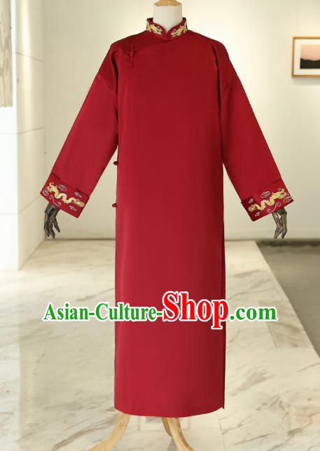 Chinese Traditional Wedding Red Gown Ancient Bridegroom Embroidered Costumes for Men