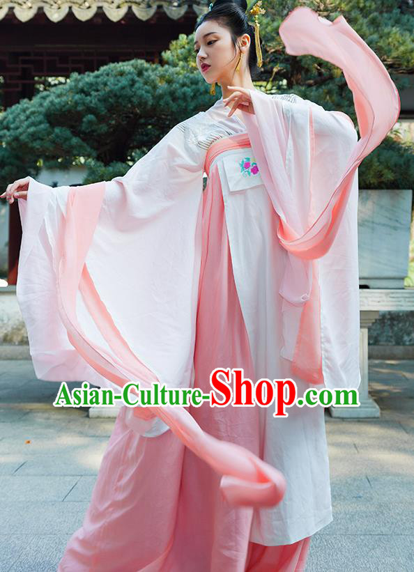 Traditional Chinese Tang Dynasty Imperial Consort Pink Hanfu Dress Ancient Drama Peri Costumes for Women