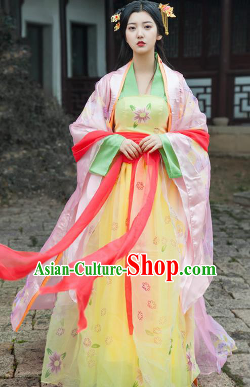 Traditional Chinese Ancient Drama Peri Costumes Tang Dynasty Palace Princess Hanfu Dress for Women