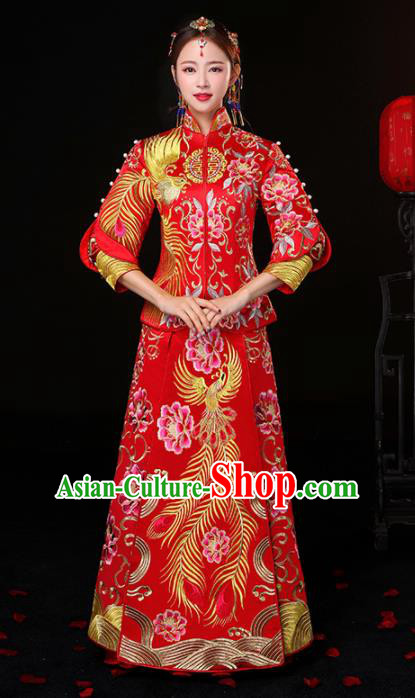 Chinese Traditional Embroidered Phoenix Peony Cheongsam Ancient Bride Handmade Xiuhe Suits Wedding Dress for Women