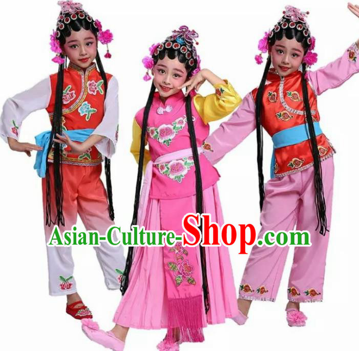 Chinese Traditional Folk Dance Costumes Ancient Beijing Opera Diva Clothing for Kids