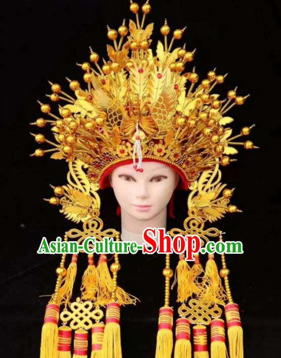 Chinese Traditional Wedding Hair Accessories Ancient Queen Golden Phoenix Coronet for Women