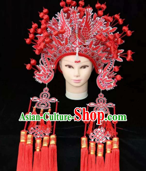 Chinese Traditional Wedding Hair Accessories Ancient Queen Red Phoenix Coronet for Women