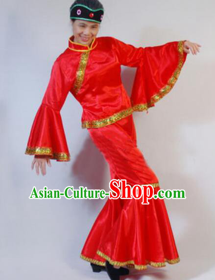 Chinese Traditional Folk Dance Costumes Yanko Dance Fan Dance Red Clothing for Women