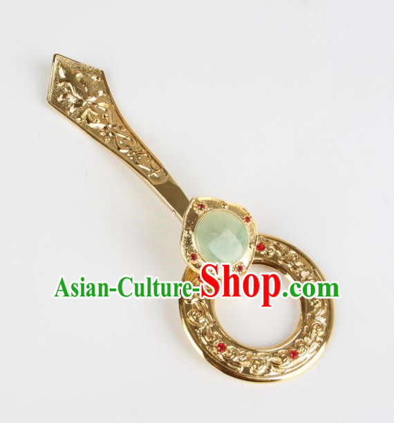 Chinese Traditional Buddhist Jade Belt Hook Buddhism Accessories Cassock Clothes Hook