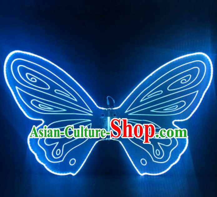 Top LED Lights Luminous Big Wings Butterfly Dance Costumes Dancing Costume Complete Set