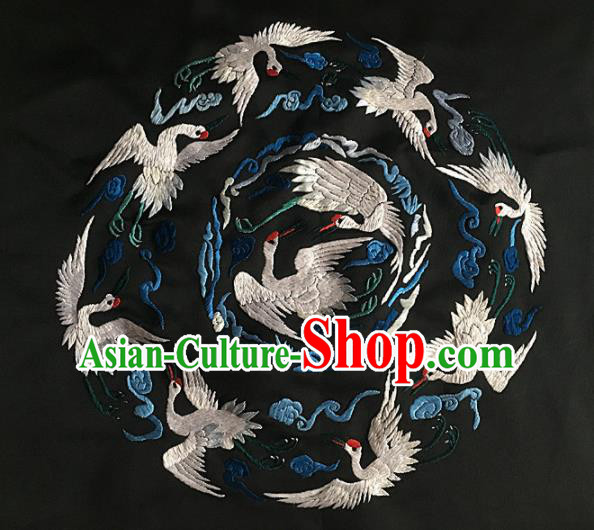 Chinese Traditional Embroidery Craft Embroidered Cranes Silk Patches Handmade Embroidering Accessories