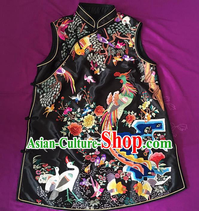 Chinese Traditional Costume Tang Suit Embroidered Phoenix Black Vest Silk Waistcoat for Women