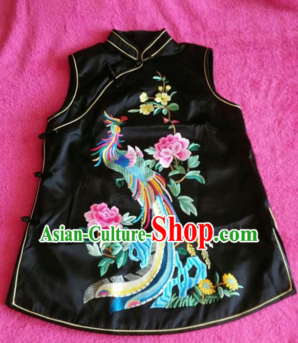 Chinese Traditional Silk Costume Tang Suit Embroidered Phoenix Peony Black Vest for Women