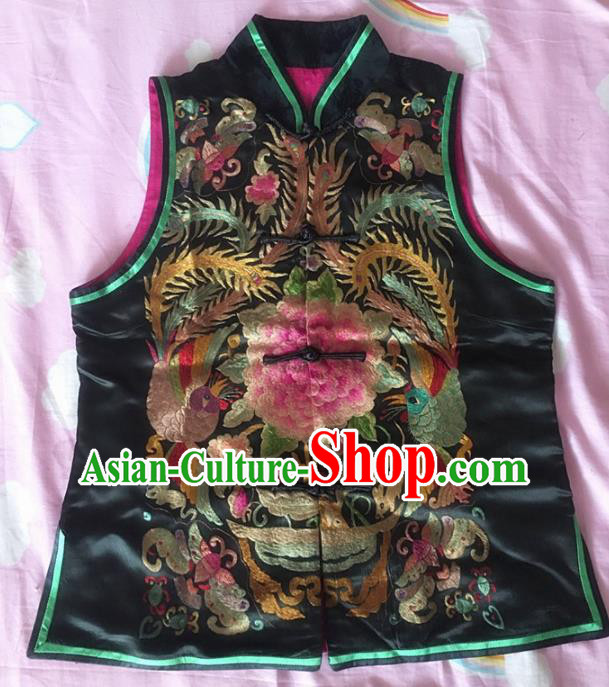 Chinese Traditional Silk Costume Tang Suit Embroidered Peony Black Silk Vest for Women