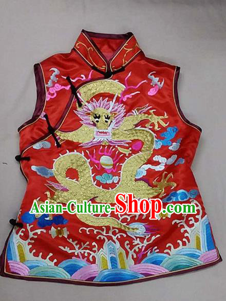 Chinese Traditional Silk Costume Tang Suit Embroidered Dragon Red Silk Vest for Women