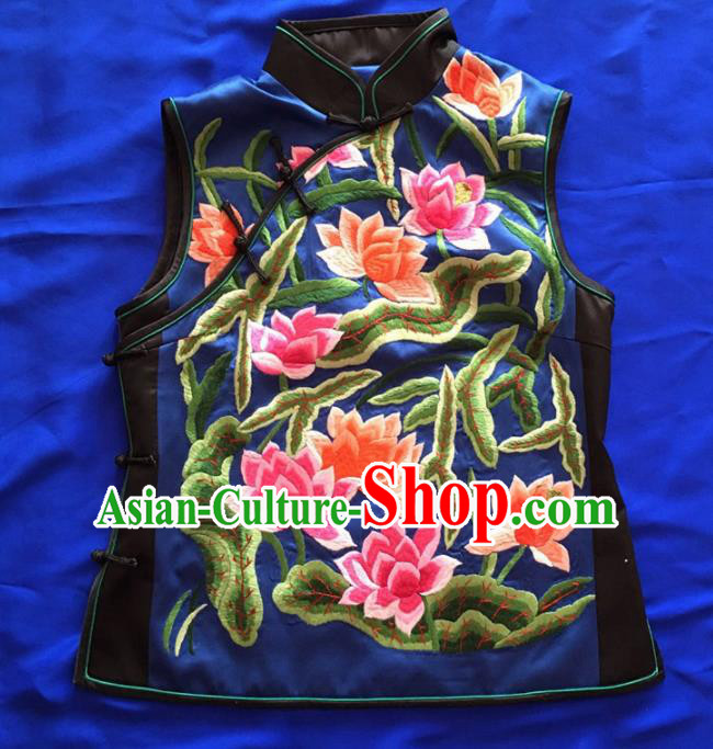 Chinese Traditional Silk Costume Tang Suit Embroidered Lotus Silk Vest for Women