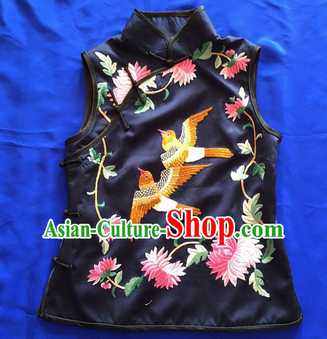 Chinese Traditional Silk Costume Tang Suit Embroidered Chrysanthemum Silk Vest for Women