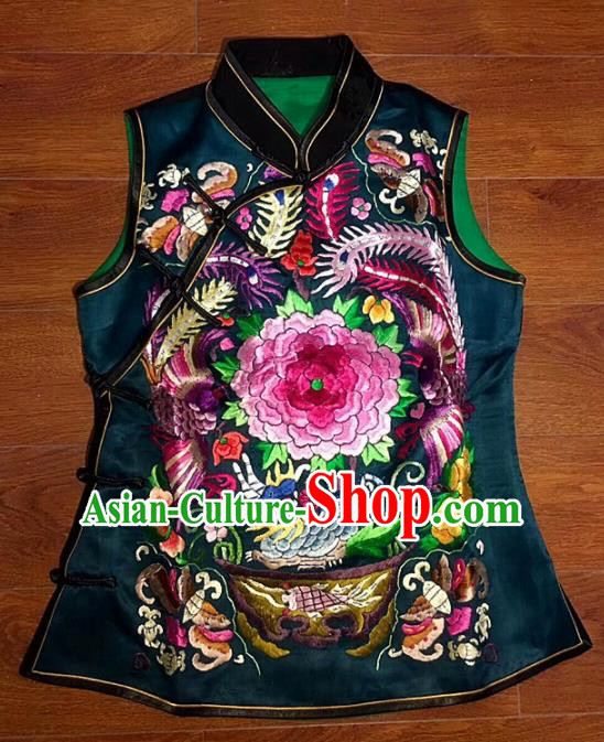Chinese Traditional Silk Costume Tang Suit Embroidered Peony Black Vest for Women