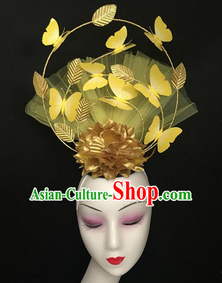 Top Halloween Catwalks Hair Accessories Stage Show Yellow Butterfly Headdress for Women