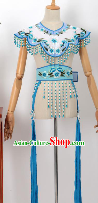 Chinese Traditional Beijing Opera Diva Accessories Blue Shoulder Cape and Belt for Women