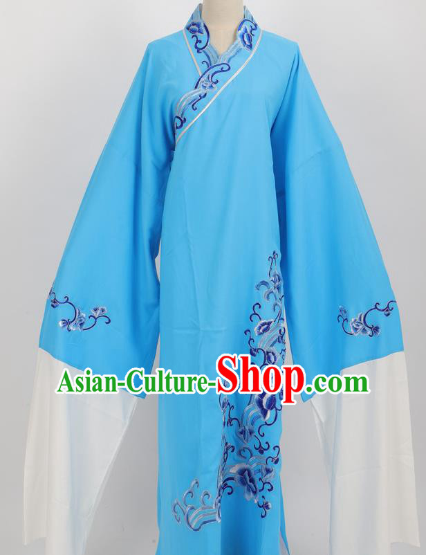 Professional Chinese Traditional Beijing Opera Niche Blue Robe Ancient Scholar Costume for Men