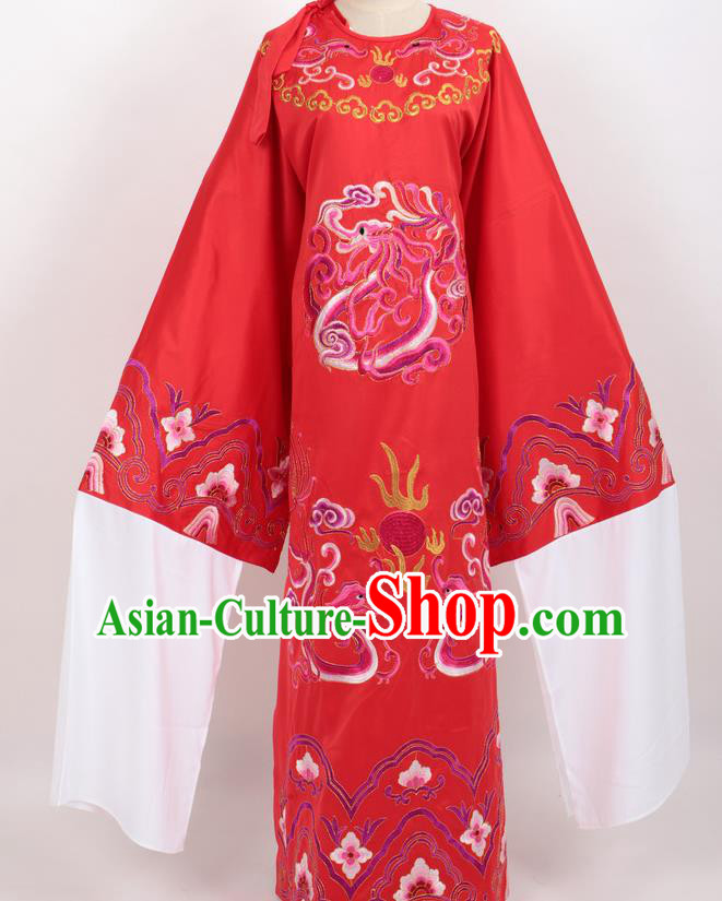 Professional Chinese Traditional Beijing Opera Niche Red Ceremonial Robe Ancient Number One Scholar Costume for Men