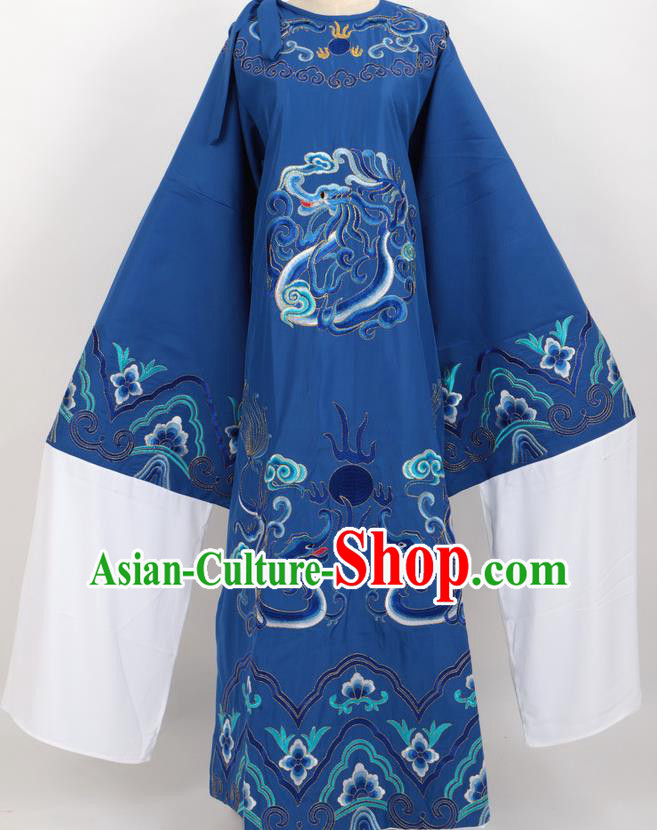 Professional Chinese Traditional Beijing Opera Niche Royalblue Ceremonial Robe Ancient Number One Scholar Costume for Men