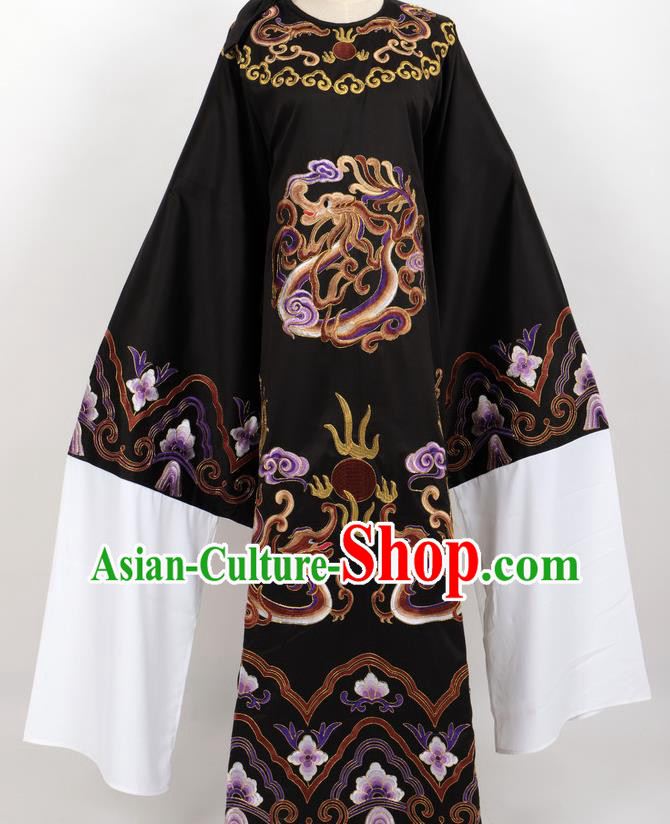 Professional Chinese Traditional Beijing Opera Niche Black Ceremonial Robe Ancient Number One Scholar Costume for Men