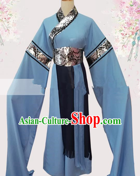 Professional Chinese Traditional Beijing Opera Young Lady Blue Dress Ancient Maidservants Costume for Women