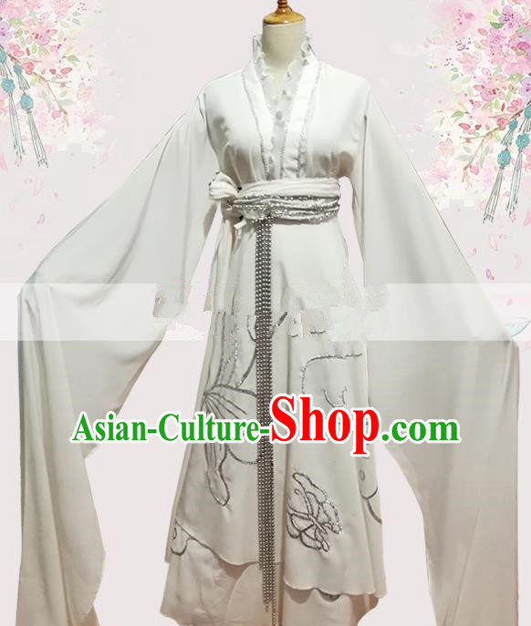 Professional Chinese Traditional Beijing Opera White Dress Ancient Widow Costume for Women