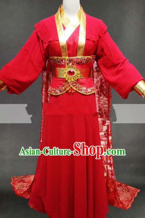 Professional Chinese Traditional Beijing Opera Diva Red Dress Ancient Female Swordsman Costume for Women