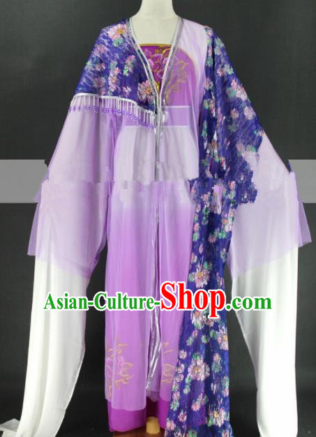 Chinese Traditional Peking Opera Diva Cui Yingying Purple Dress Ancient Rich Lady Costume for Women