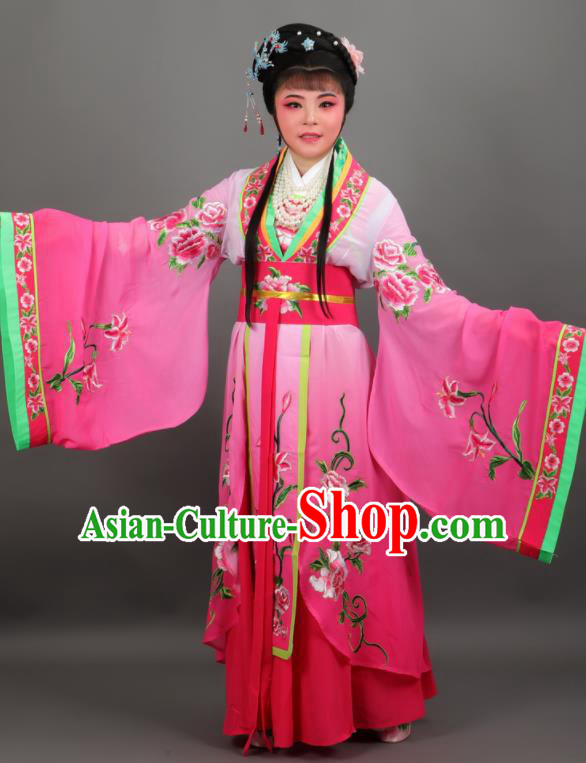 Chinese Traditional Peking Opera Diva Empress Rosy Dress Ancient Court Queen Costume for Women