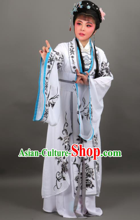Chinese Traditional Peking Opera Diva Empress White Dress Ancient Court Queen Costume for Women
