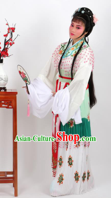 Chinese Traditional Peking Opera Actress Hua Tan Green Dress Ancient Rich Lady Costume for Women