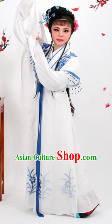 Professional Chinese Traditional Peking Opera Diva White Dress Ancient Nobility Lady Costume for Women