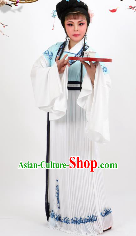 Professional Chinese Traditional Peking Opera Diva White Dress Ancient Young Lady Costume for Women
