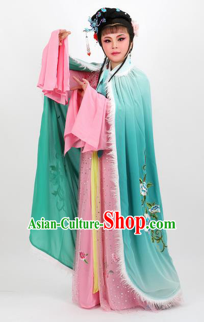 Professional Chinese Traditional Beijing Opera Green Cape Ancient Princess Costume for Women
