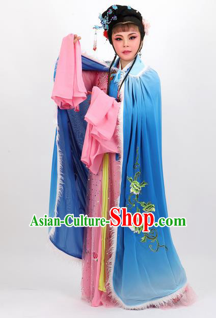 Professional Chinese Traditional Beijing Opera Blue Cape Ancient Princess Costume for Women