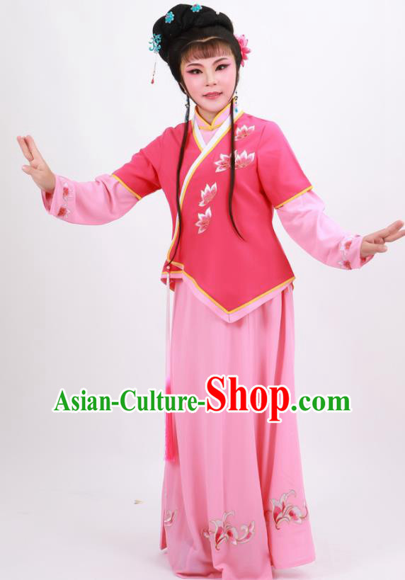 Professional Chinese Traditional Beijing Opera Maidservants Rosy Dress Ancient Young Lady Costume for Women