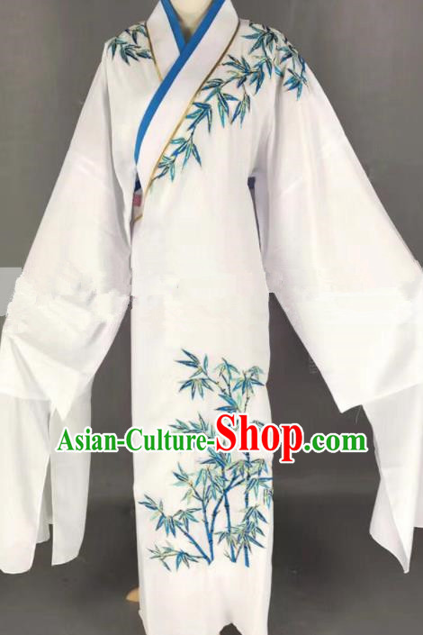 Professional Chinese Traditional Beijing Opera Niche Embroidered Bamboo White Robe Ancient Scholar Costume for Men