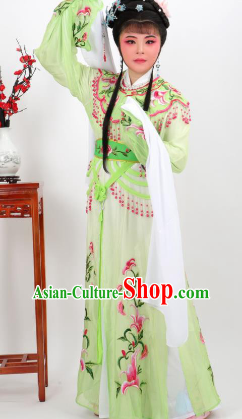 Chinese Traditional Peking Opera Actress Court Princess Green Dress Ancient Palace Lady Costume for Women