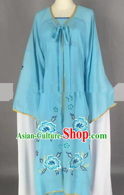 Chinese Traditional Peking Opera Actress Servant Girl Blue Dress Ancient Poor Lady Costume for Women