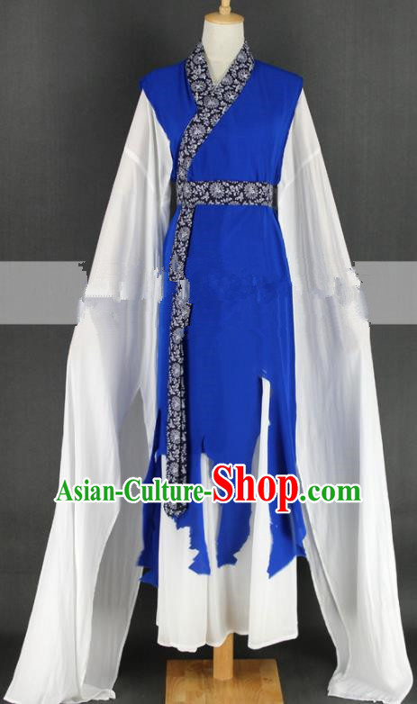 Chinese Traditional Peking Opera Country Lady Blue Dress Ancient Farmwife Costume for Women