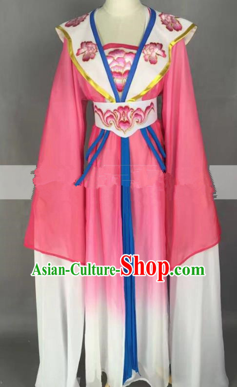 Chinese Traditional Peking Opera Actress Court Maid Rosy Dress Ancient Rich Lady Costume for Women